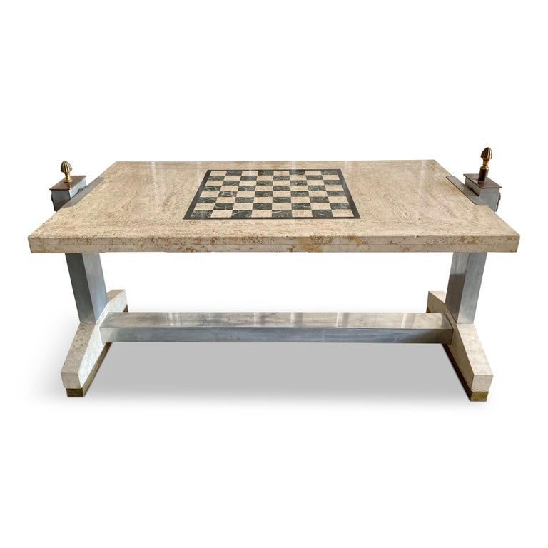 Hollywood Regency 1970s Italian Travertine, Chrome, Brass and Bronze Games Coffee Table