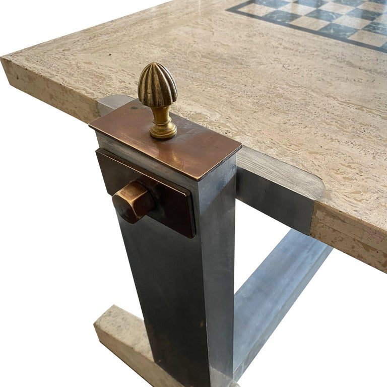 1970s Italian Travertine, Chrome, Brass and Bronze Games Coffee Table In Good Condition In London, London
