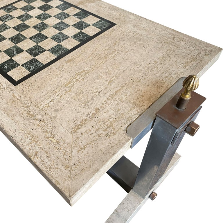 1970s Italian Travertine, Chrome, Brass and Bronze Games Coffee Table 1