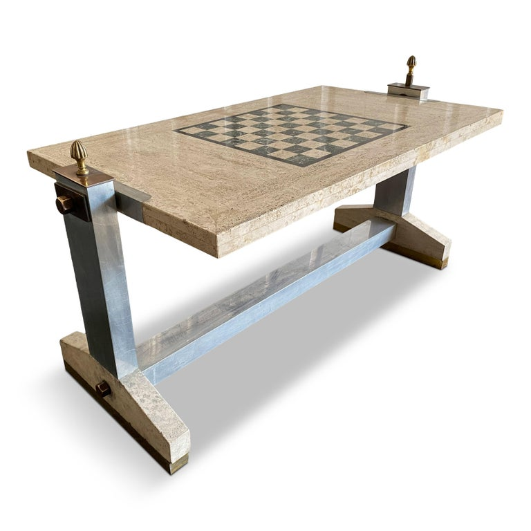 1970s Italian Travertine, Chrome, Brass and Bronze Games Coffee Table 3
