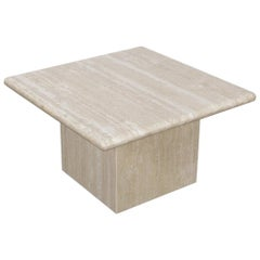 1970s Italian Travertine Square Top End Table with Pedestal Base