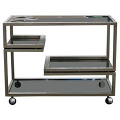 1970s Italian Trolley in Brushed Steel with Minimal and Rationalist Gray Glass