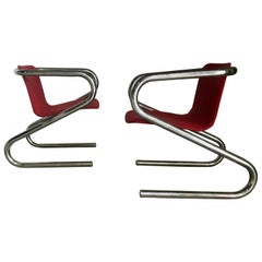 "1970s Italian Tubular Chrome ""Z"" Lounge Chairs Attributed to Harvey Guzzini"