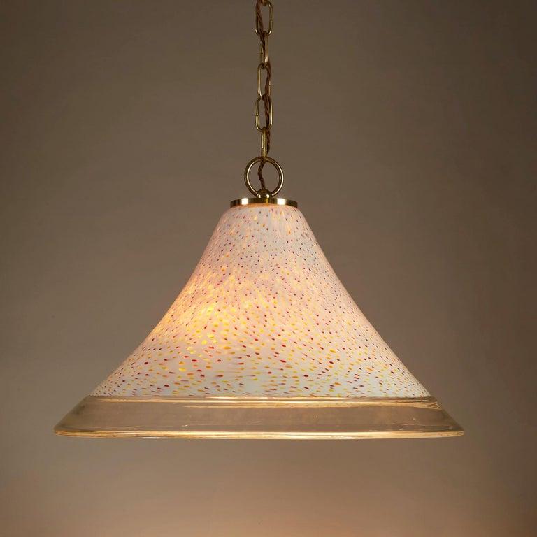 1970s Italian Tutti Frutti Glass Pendant Light In Good Condition For Sale In London, GB