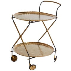 1970s Italian Two-Tier Brass Tray and Painted Metal Serving Cart