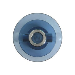 1970s Italian Two-Tiered Round Navy Blue Glass and Chrome Wall Sconce