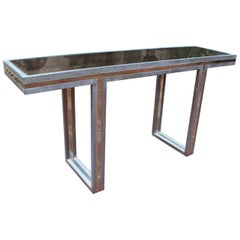1970s Italian Two-Tone Brass Console Table with Period Smoked Glass Top