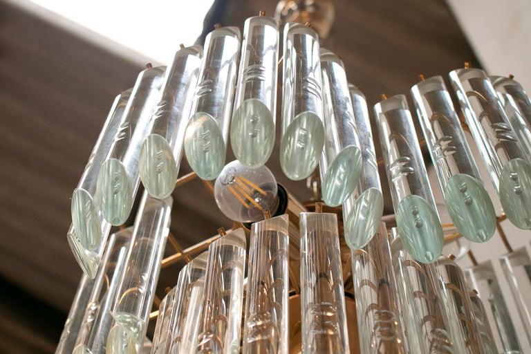 1970s Italian Venetian Murano Glass and Bronze Chandelier For Sale 7