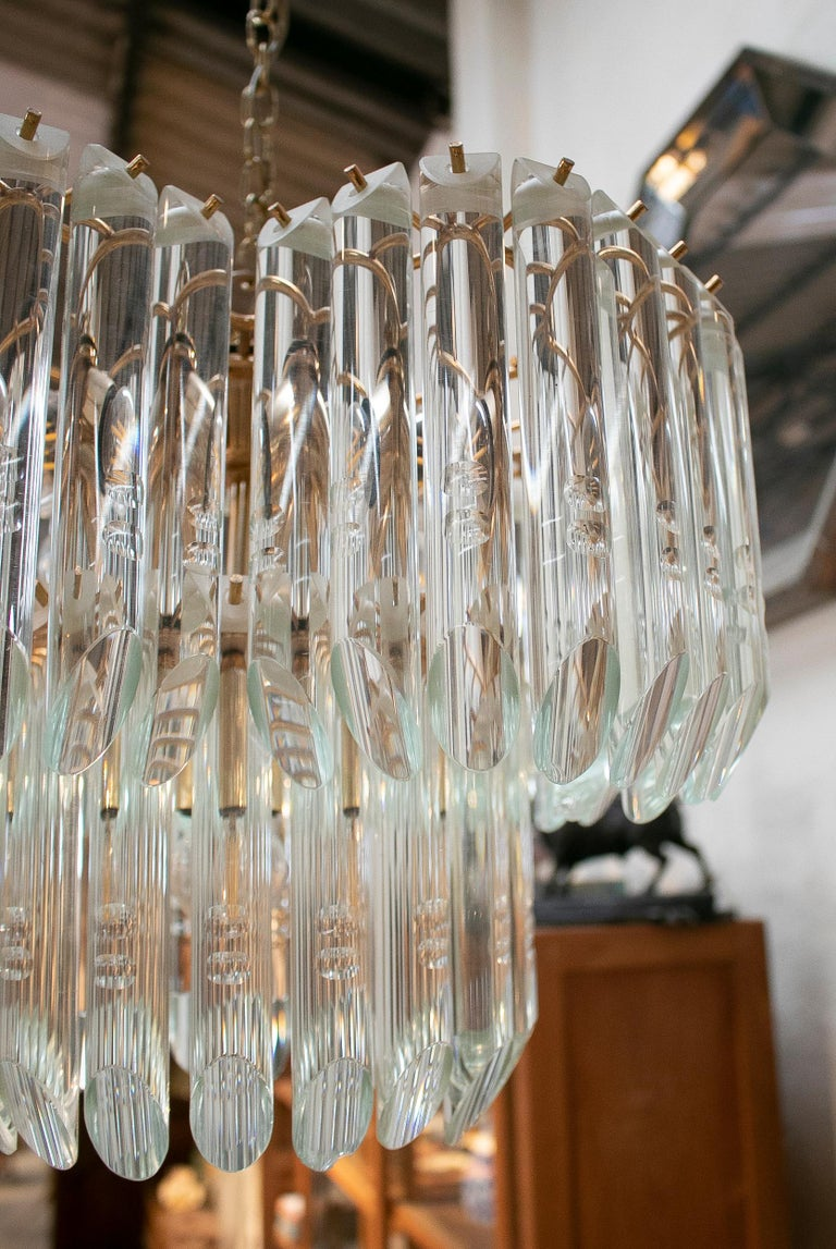 1970s Italian Venetian Murano Glass and Bronze Chandelier For Sale 8