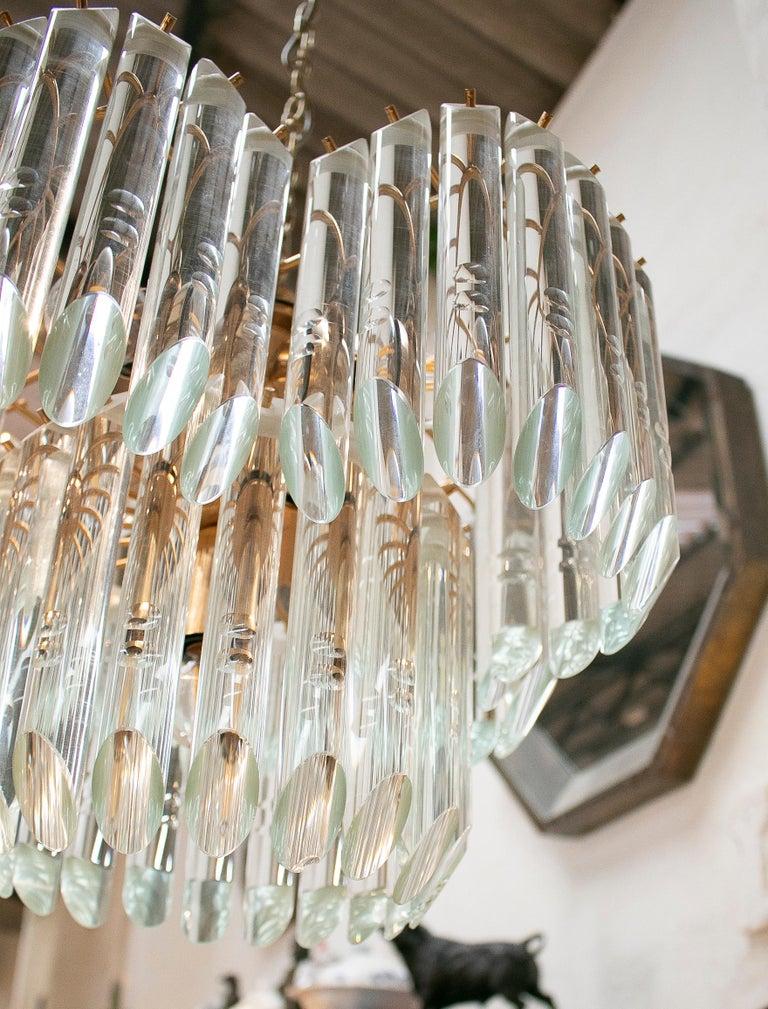 1970s Italian Venetian Murano Glass and Bronze Chandelier For Sale 10