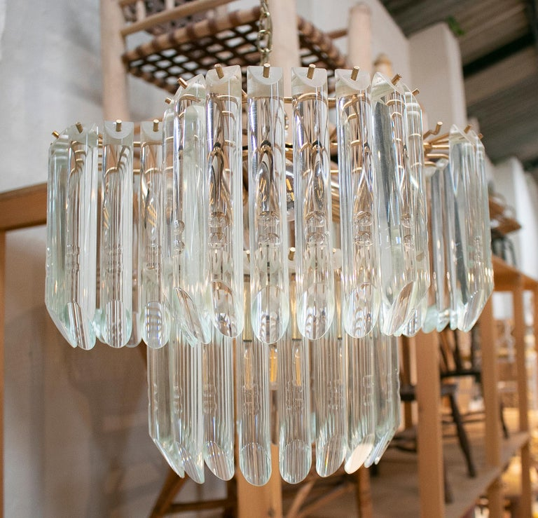 1970s Italian Venetian Murano glass and bronze chandelier ceiling hanging lamp.