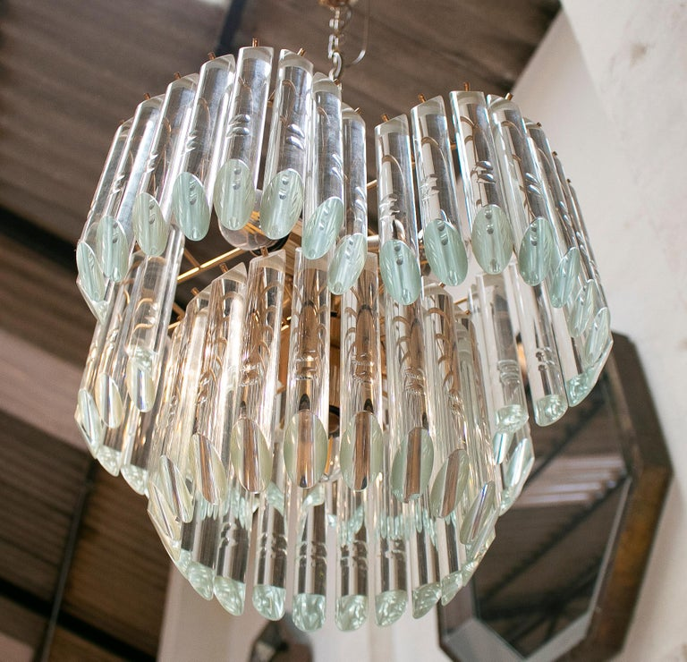 1970s Italian Venetian Murano Glass and Bronze Chandelier For Sale 5