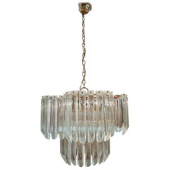 1970s Italian Venetian Murano Glass and Bronze Chandelier