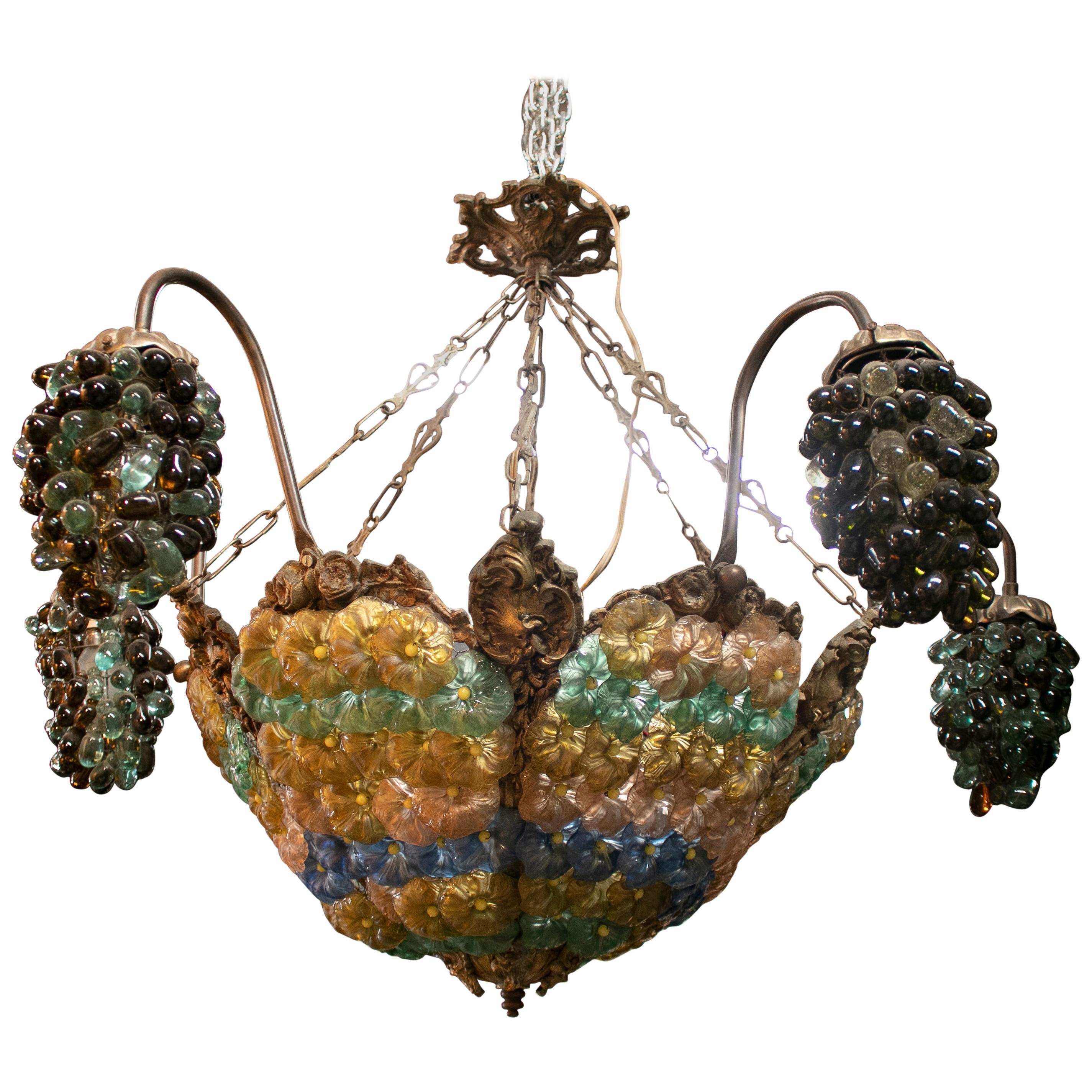 1970s Italian Venetian Murano Glass Ceiling Lamp w/ Grapes & Flowers