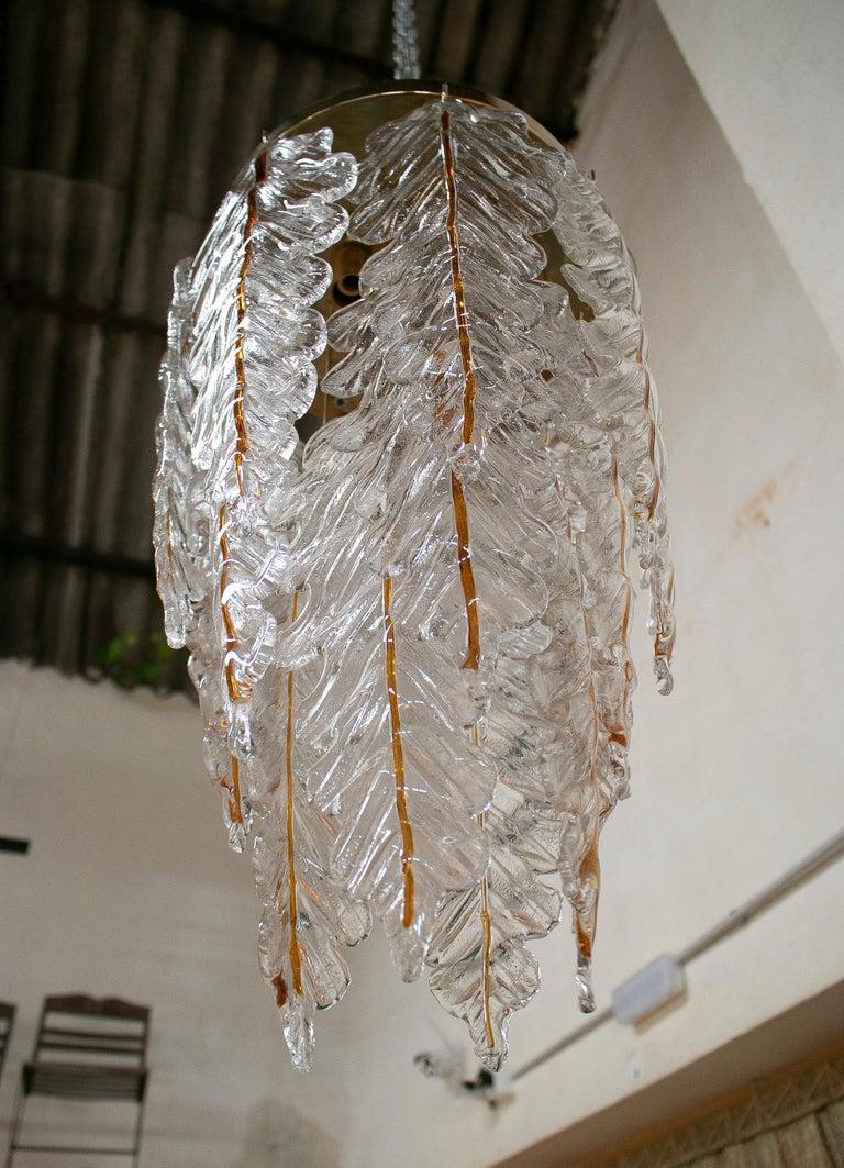 1970s Italian Venetian stained Murano glass bronze chandelier hanging ceiling lamp.