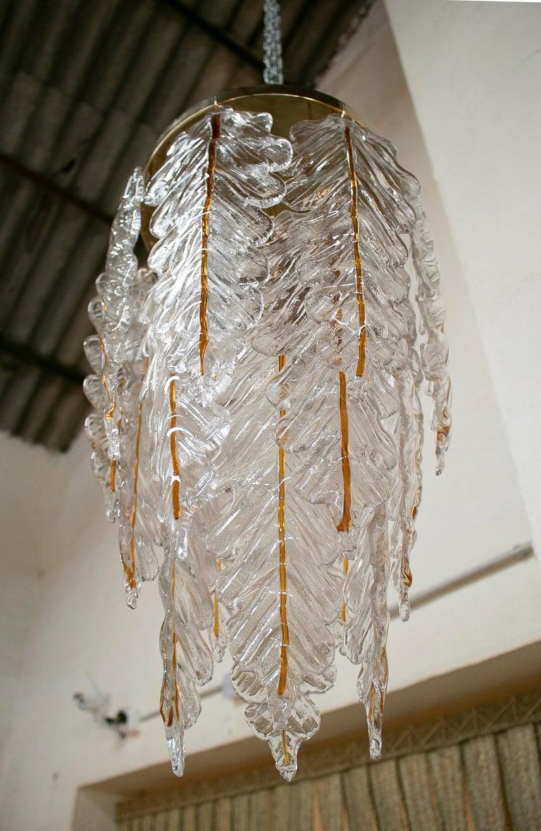 20th Century 1970s Italian Venetian Stained Murano Glass Bronze Chandelier For Sale