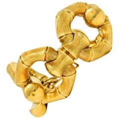 1970's Italian Vintage 18 Karat Gold Bamboo Link Bracelet