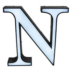 1970s Italian Vintage Light Letter N in White and Metal Profile