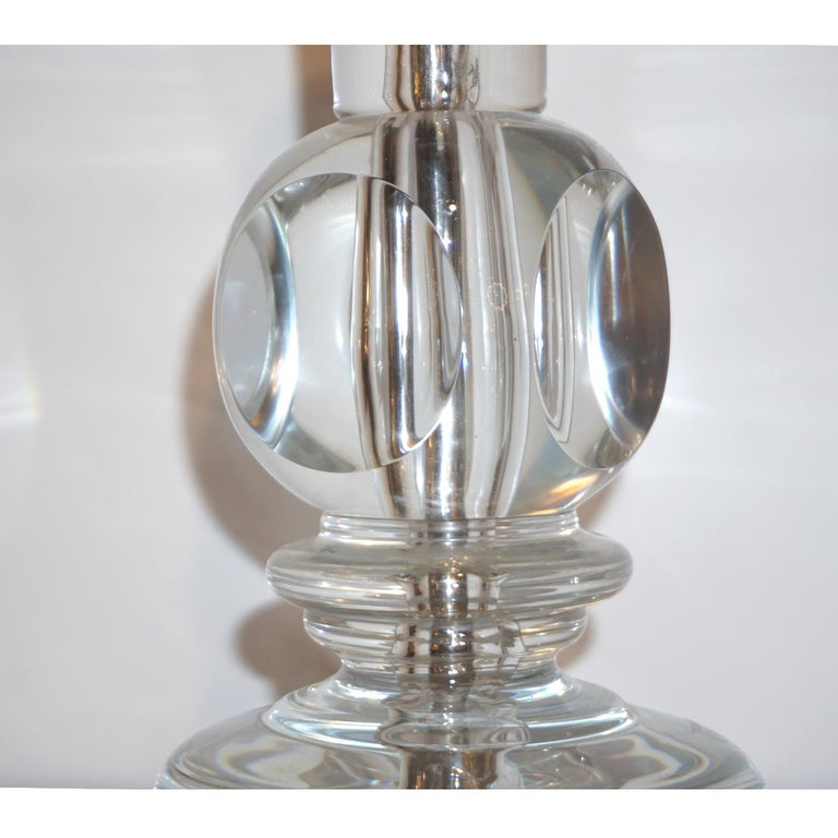 1970s Italian Vintage Pair of Crystal Glass Table Lamps with Organic Design For Sale 4