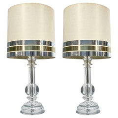 1970s Italian Vintage Pair of Crystal Glass Table Lamps with Organic Design