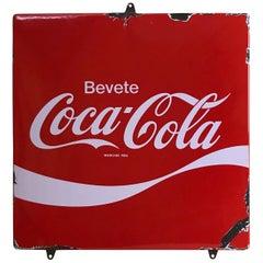 1970s Italian Vintage Squared Metal Enamel Bevete Coca-Cola Sign Drink Coca-Cola