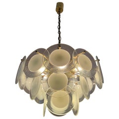 1970s Italian Vistosi Style Hanging Hand Blown Glass Disc and Brass Chandelier