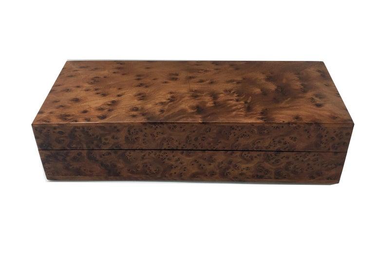 Elegant walnut briar box made in Italy in the 1970s.