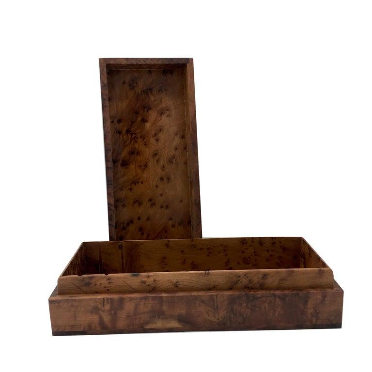 1970s Italian Walnut Briar Box For Sale 1