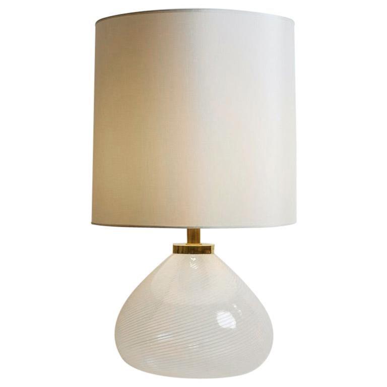 1970s Italian White Hand Blown Murano Glass Lamp and Custom Lampshade