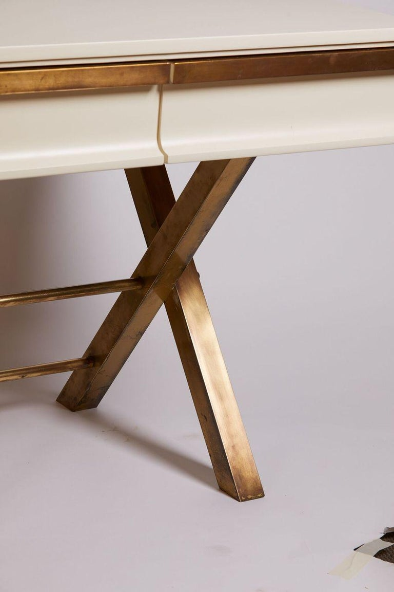 1970s Italian White Lacquer and Brass 3-Drawer Desk In Good Condition For Sale In Aspen, CO