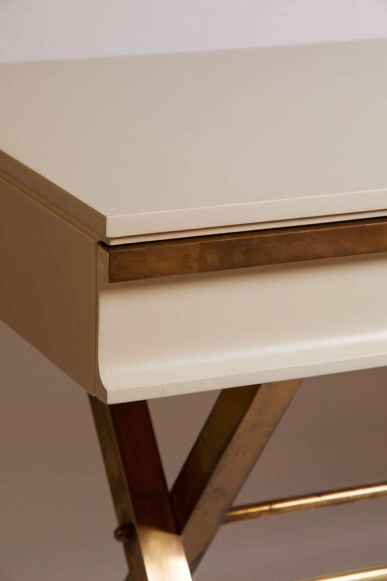 Late 20th Century 1970s Italian White Lacquer and Brass 3-Drawer Desk For Sale