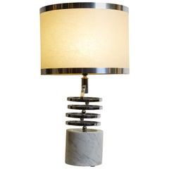 1970s Italian White Marble and Chrome Moveable Arm Table Lamp