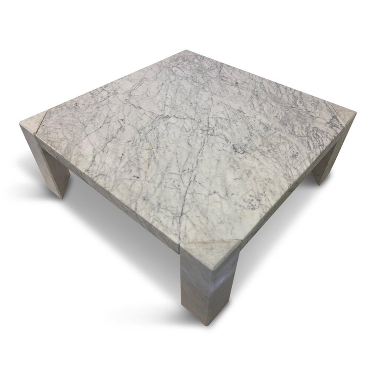 Large coffee table  White marble  Triangular legs  1970s, Italy.