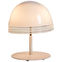 1970s Italian White Murano Glass Lamp with White Glass Shade