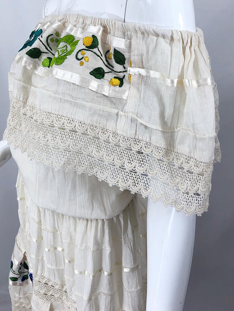 1970s Ivory Cotton Colrful Embroidered Flowers Off Shoulder Vintage Boho Dress For Sale 6