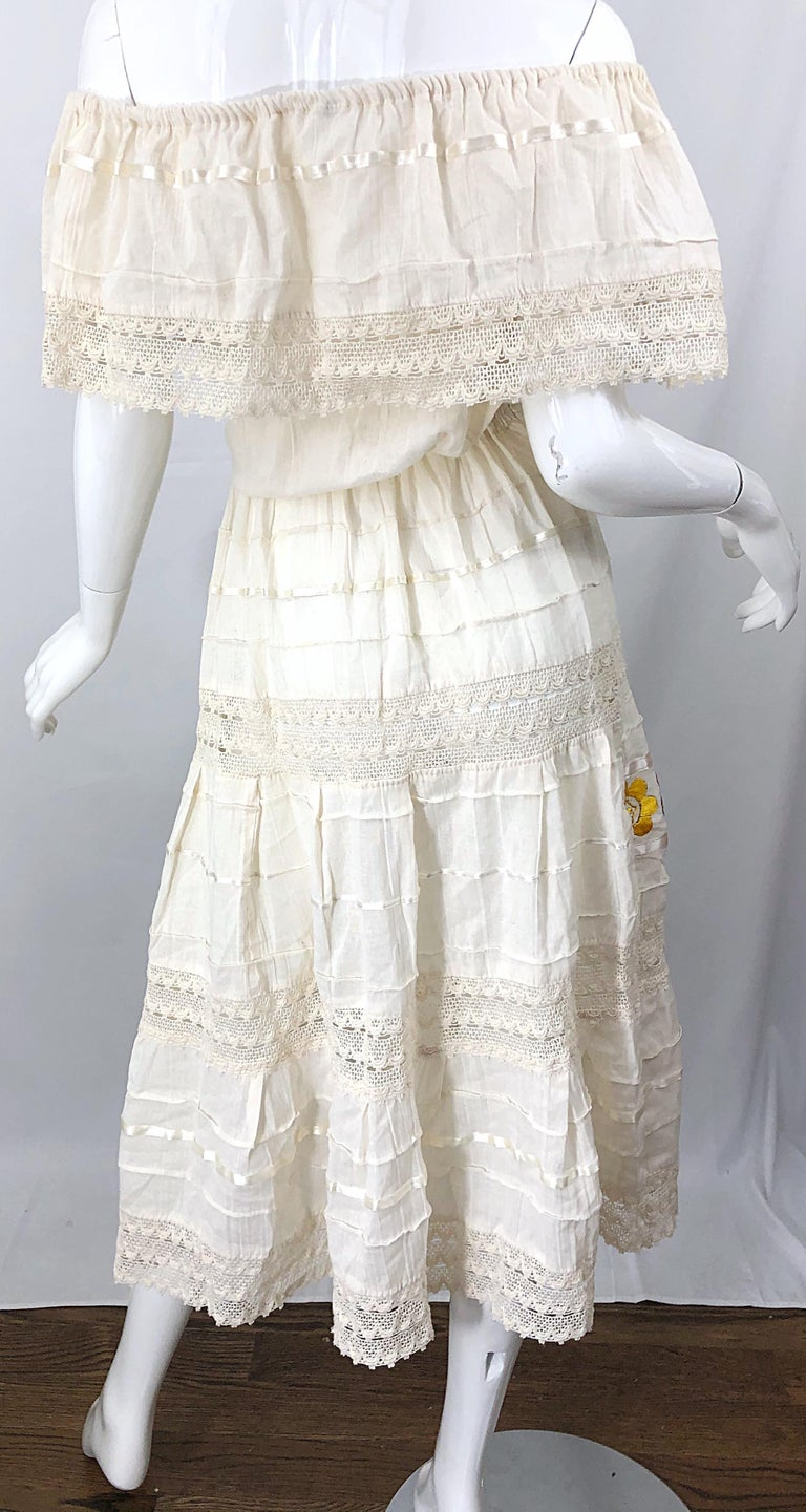1970s Ivory Cotton Colrful Embroidered Flowers Off Shoulder Vintage Boho Dress For Sale 8