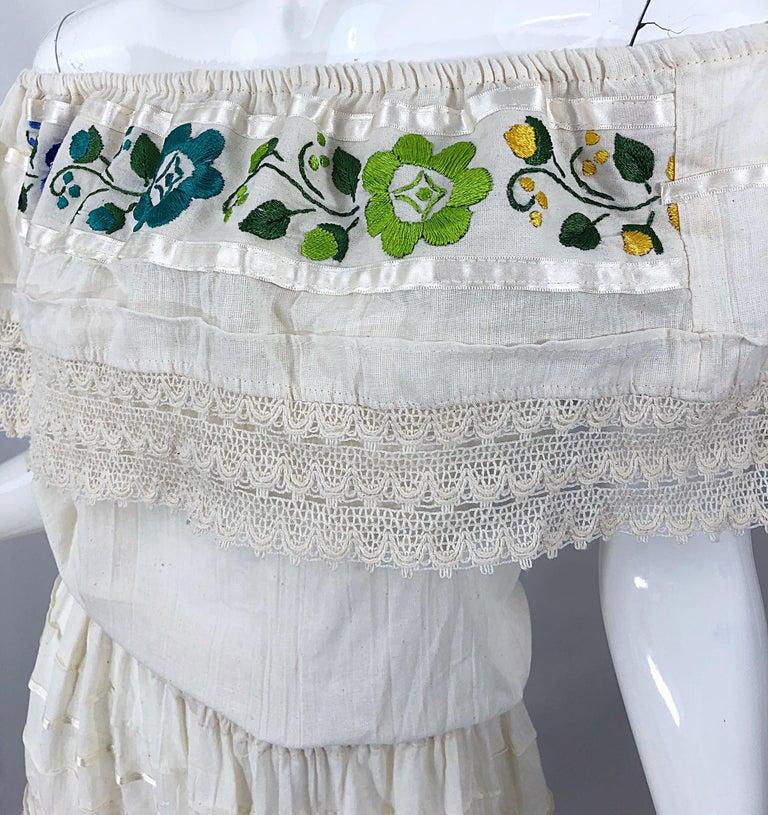 Women's 1970s Ivory Cotton Colrful Embroidered Flowers Off Shoulder Vintage Boho Dress For Sale