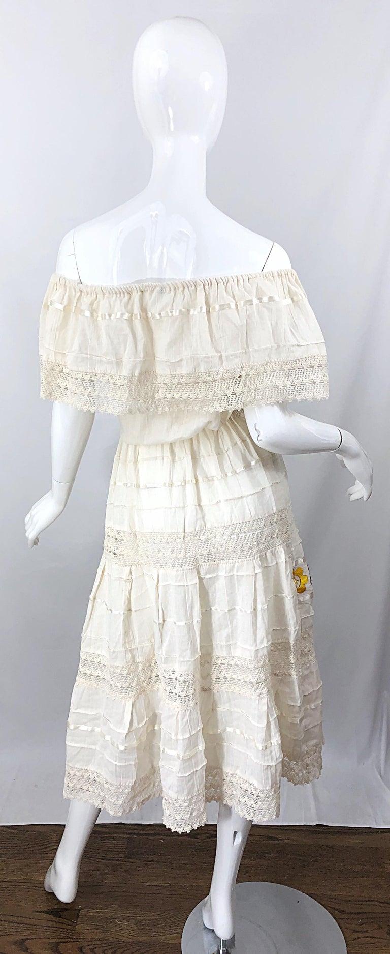 1970s Ivory Cotton Colrful Embroidered Flowers Off Shoulder Vintage Boho Dress For Sale 1