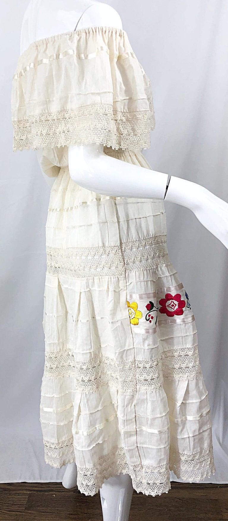1970s Ivory Cotton Colrful Embroidered Flowers Off Shoulder Vintage Boho Dress For Sale 4