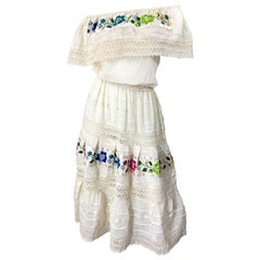 1970s Ivory Cotton Colrful Embroidered Flowers Off Shoulder Vintage Boho Dress