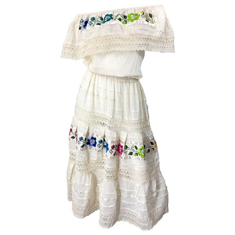 1970s Ivory Cotton Colrful Embroidered Flowers Off Shoulder Vintage Boho Dress For Sale