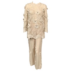 1970's Ivory Lace Tunic and Chiffon Pants with Ribbon and Rhinestone Appliques