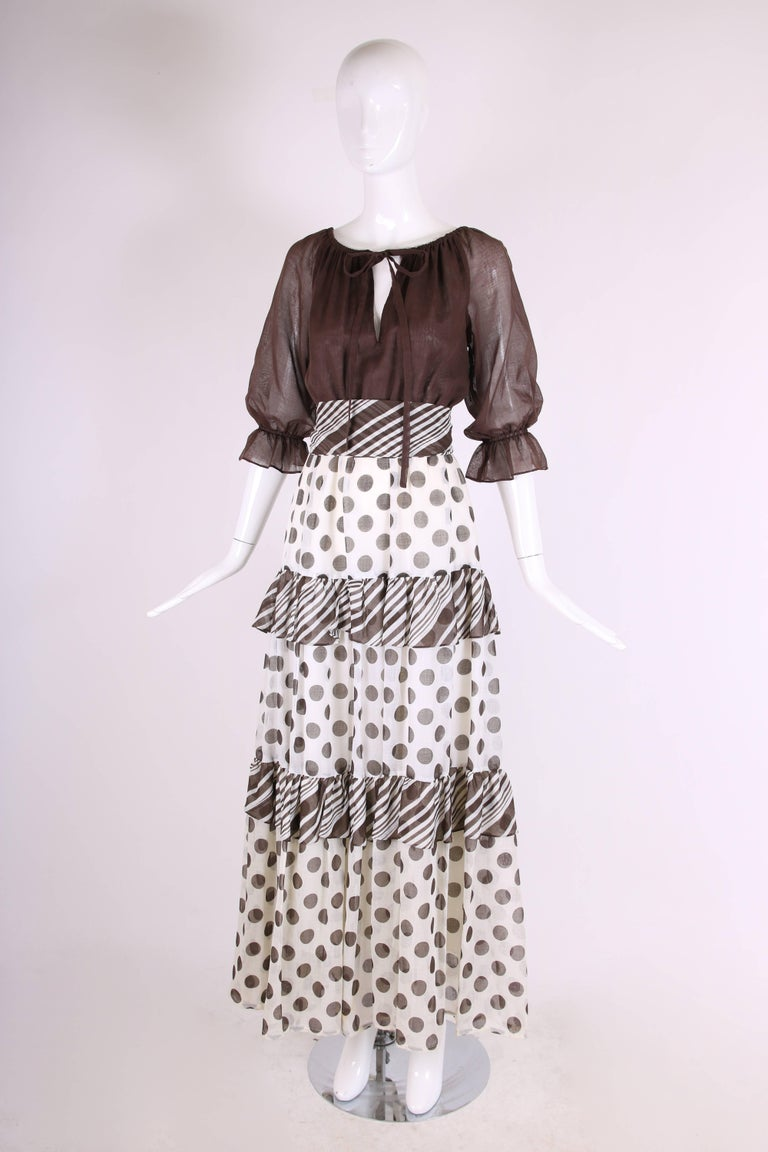 Gray 1970s Jack Bryan Brown & White Maxi Dress w/Polka Dot Print Skirt & Ruffled Trim For Sale