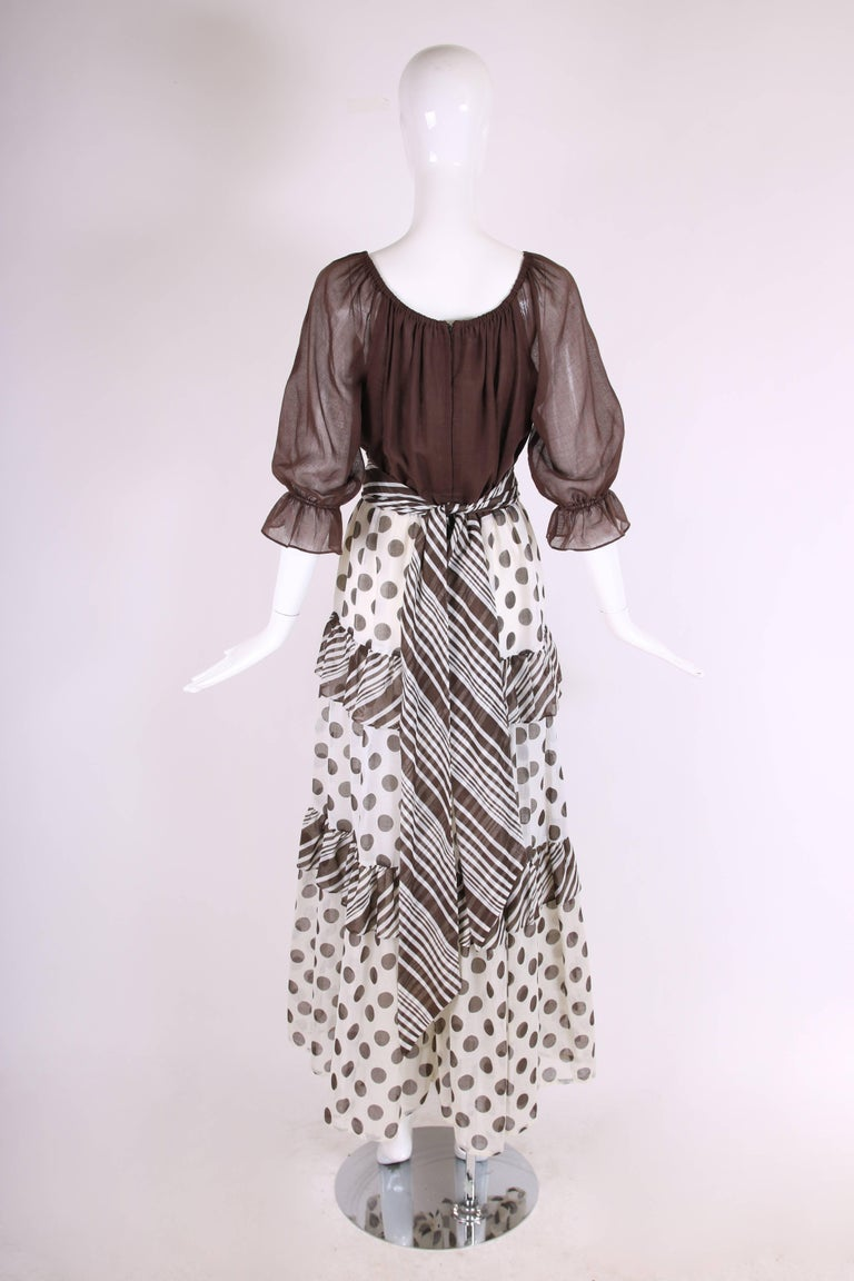Women's 1970s Jack Bryan Brown & White Maxi Dress w/Polka Dot Print Skirt & Ruffled Trim For Sale