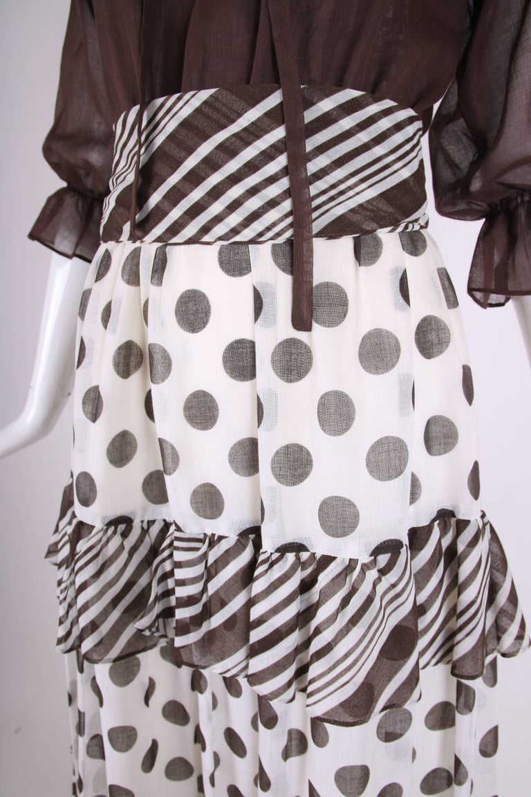 1970s Jack Bryan Brown & White Maxi Dress w/Polka Dot Print Skirt & Ruffled Trim For Sale 2