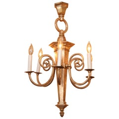 1970s Jacobean Silver Plated Bronze Chandelier with Six Arms