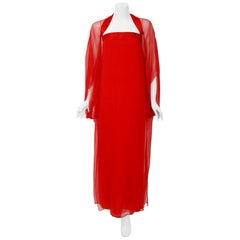 1970's Jacqueline de Ribes Red Sheer Silk-Chiffon Draped Caftan Goddess Gown