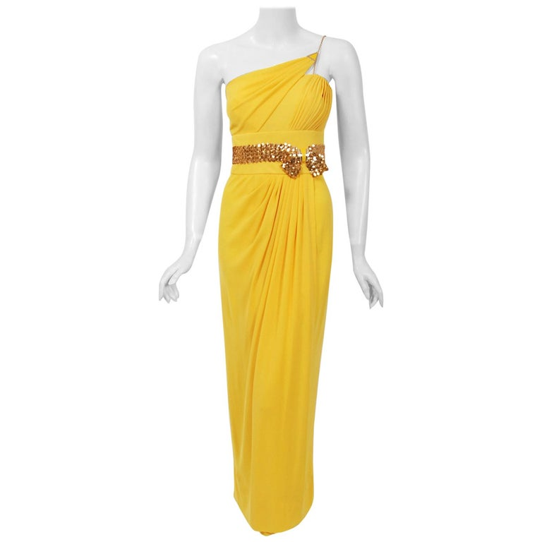 1970's Jacques Cassia Couture Yellow Jersey Metal One-Shoulder Draped Dress For Sale