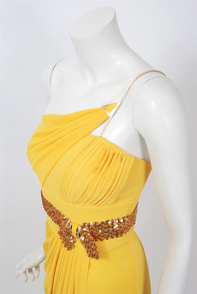 1970's Jacques Cassia Couture Yellow Jersey Metal One-Shoulder Draped Dress In Good Condition For Sale In Beverly Hills, CA