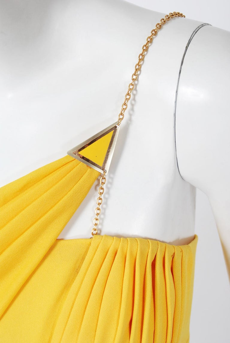 Women's 1970's Jacques Cassia Couture Yellow Jersey Metal One-Shoulder Draped Dress For Sale
